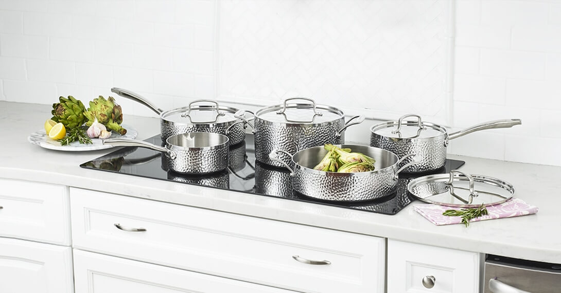 Hammered Collection Tri-Ply Stainless 9 Piece Set